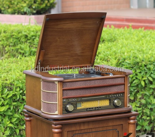 USB Decoder brown wooden turntable with MP3 and CD Player classical