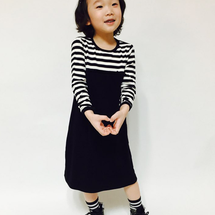 High Quality Girl's Stripe Dress from Seoul, Korea
