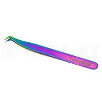 C&CHAT 45Degree Rainbow Curved Tweezer