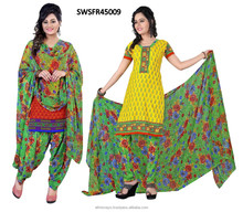 Crepe printed design work indian salwar kameez