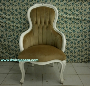 Mahogany Wood Antique Arm Curved Chair French Style