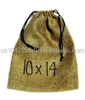 Medium Bag with a drawstring made out of burlap 10 x 14