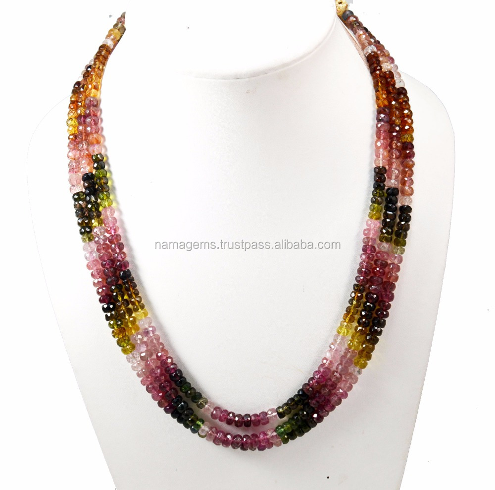 Natural Multi Tourmaline Semi Precious Royal Quality 3-5 mm Size Full Length Good Making Beads Necklace