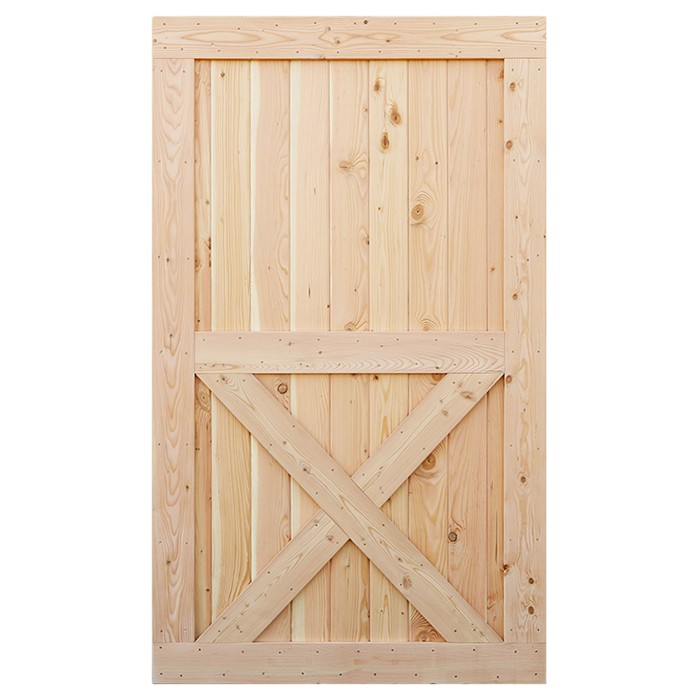 Unfinished knotty alder solid wood core interior barn door for Solid wood interior barn door