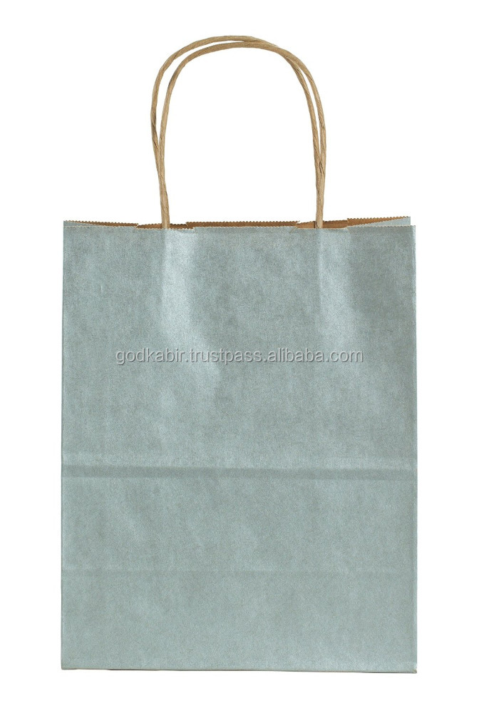 Trade base export level Premier Packaging AMZ-230143 15 Count Metallic Kraft Shopping Bag, 8.25 by 10.5-Inch, Silver.
