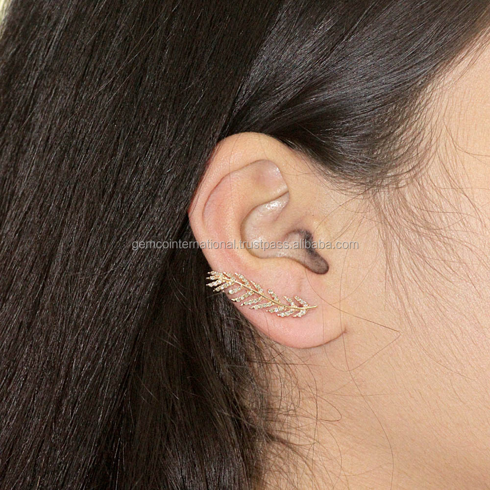 Pave Diamond Fashion Jewelry Earrings 18k Rose Gold Leaf Design Ear Cuffs