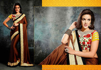 Contemporary Embroidered Saree Party Wear Saddle Brown Saree DA6084