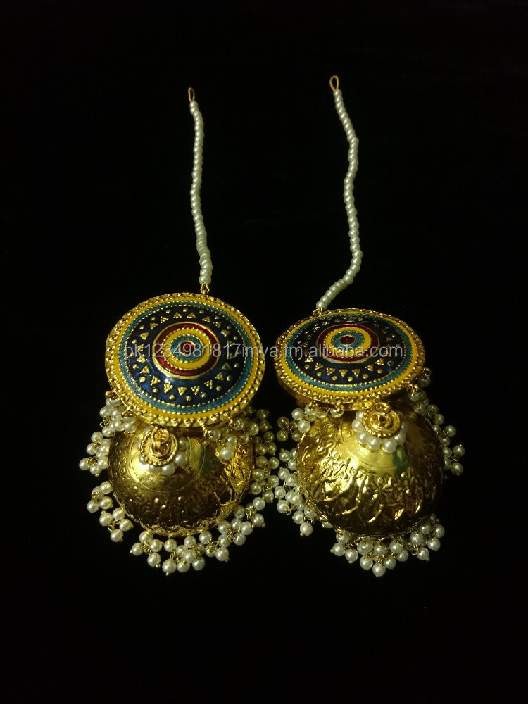 Latest Gold Plated Kundan Jhumkas Designs