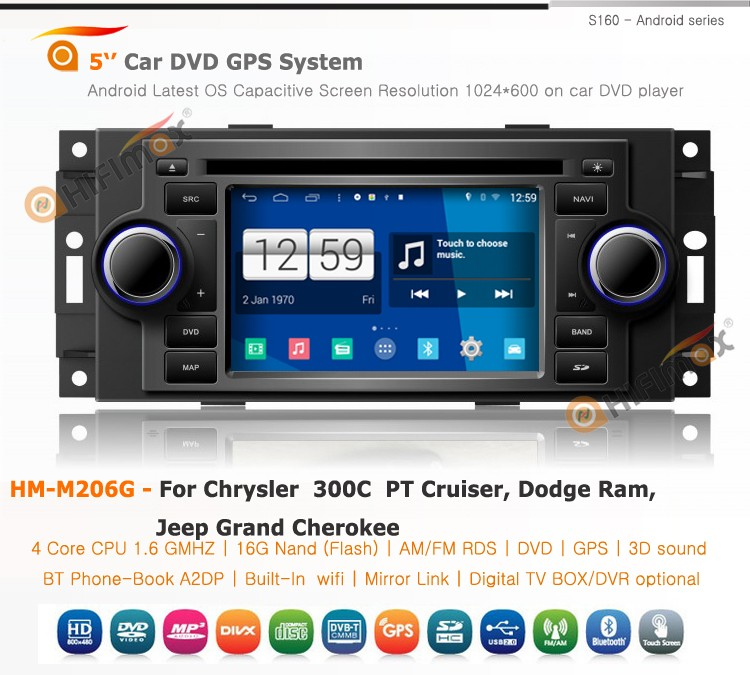 HIFIMAX Android 4.4.4 Chrysler 300C PT Cruiser GPS DVD For Dodge Ram 1500 Car DVD Radio For Jeep Grand Cherokee