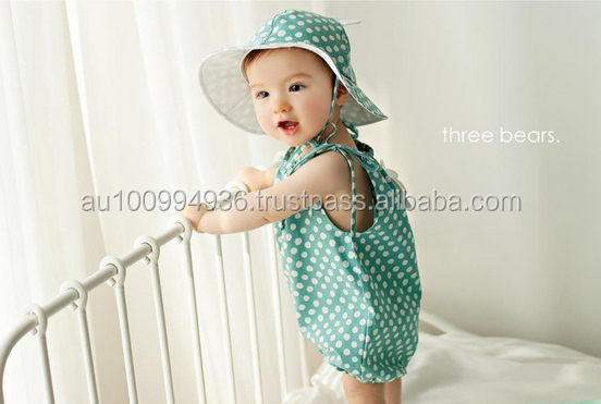 Baby girl's 2pcs set, girl's polka clothes, girl's romper+hat set, baby's angle wings set. MS-366