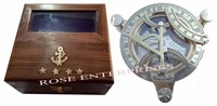Nautical Vintage Brass Sundial Compass with Solid Wooden Box
