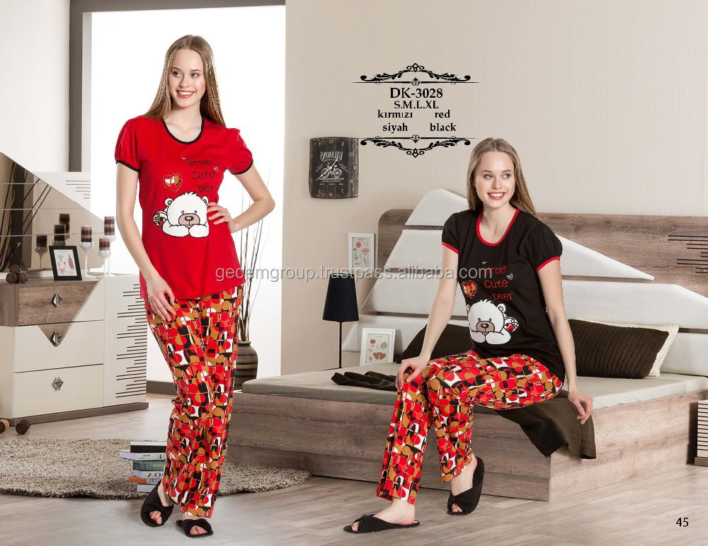 turkish high quality women cotton knitted pajama