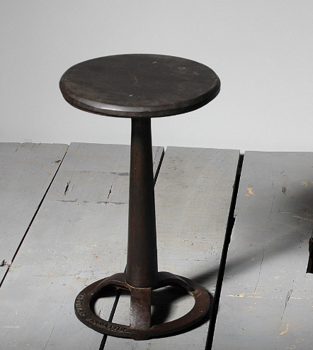 Industrial Toledo Factory Work Cast Iron Cafe Stool