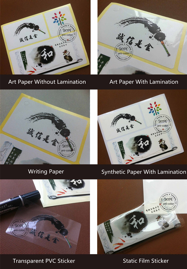 custom full color pvc permanent adhesive sticker labels
