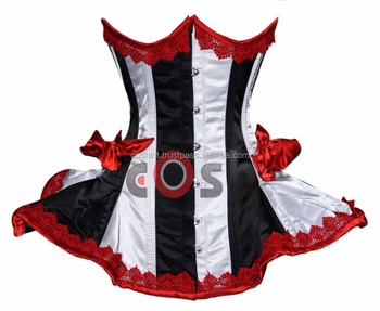 1111 Underbust Steel Boned red And White Heavy Lacing Satin Corset Supplier