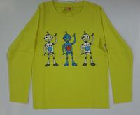 100% cotton single jersey 160Gsm Boys Long Sleeve O Neck Printed T Shirt