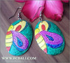 handmade unique hand painting earrings wooden organic