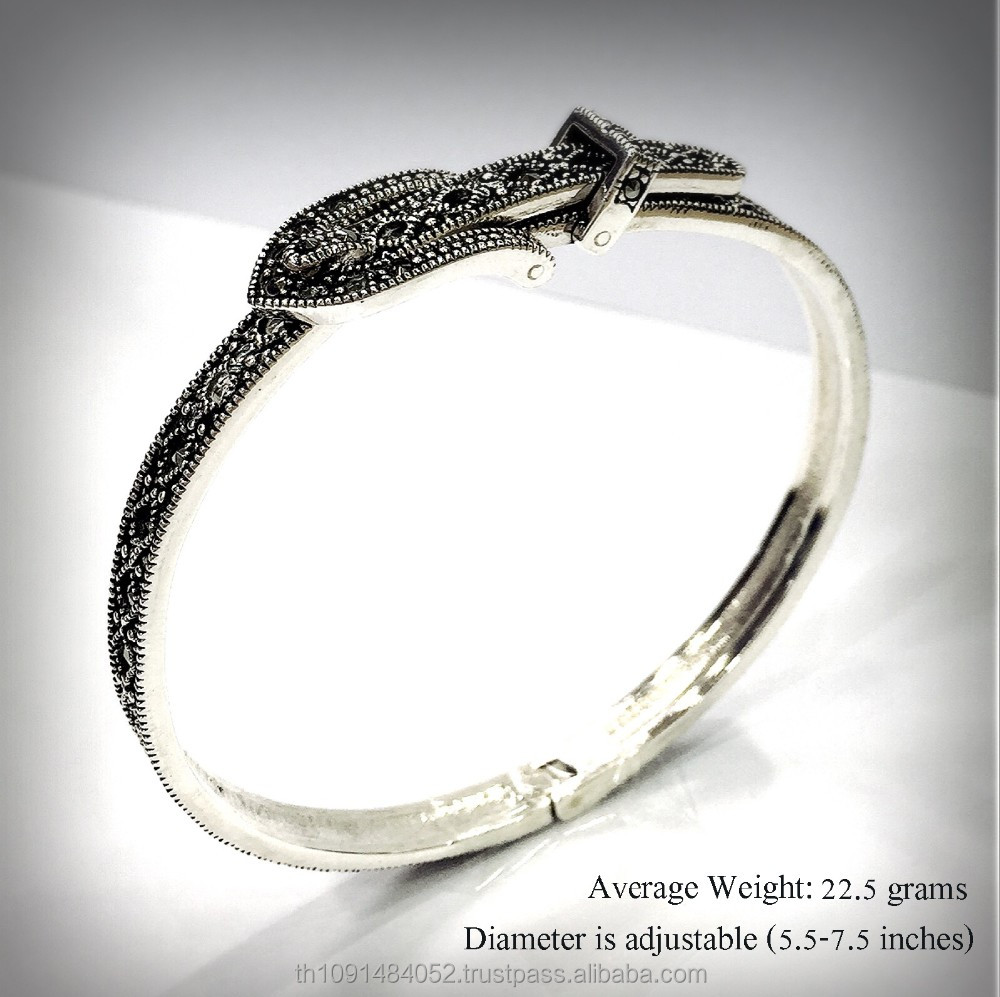 Fashionable jewelry 925 sterling silver bangle with Swiss marcasite, belt shape, can adjust size by yourself