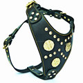 High quality brass fitting leather dog harness and collars