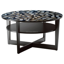 expensive furniture design handmade natural eggshell inlay lacquer top wood round table