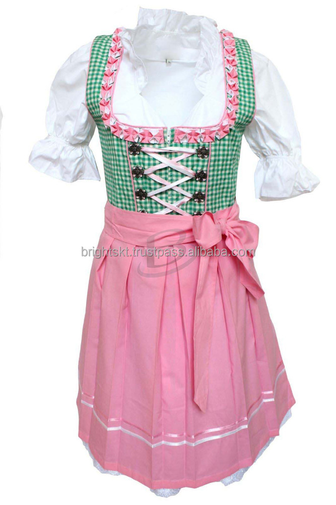 Pink Printed Silk dirndl Custom Design Trachten Oktoberfest Bavarian Traditional Dirndl For Women(Traditional Dress)