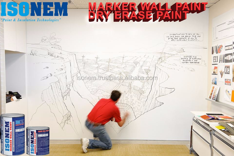 ISONEM DRY ERASE MARKER WRITABLE WALL BOARD PAINT, Use any wall/surface as a chalkboard with markers