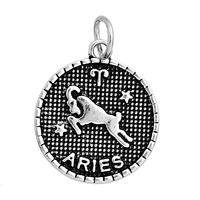 "Charm Pendants Round Antique Silver Aries Pattern ""Aries"" Carved 23.0mm x 20.0mm, 10 PCs"