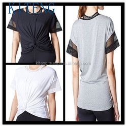 2016 short mesh sleeve top with Knotted front Office In United States (USA)Small Minimum