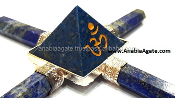 "Gemstone Agate Energy Generator : with Engraved ""OM"" : Lapis Agate Energy Generator"