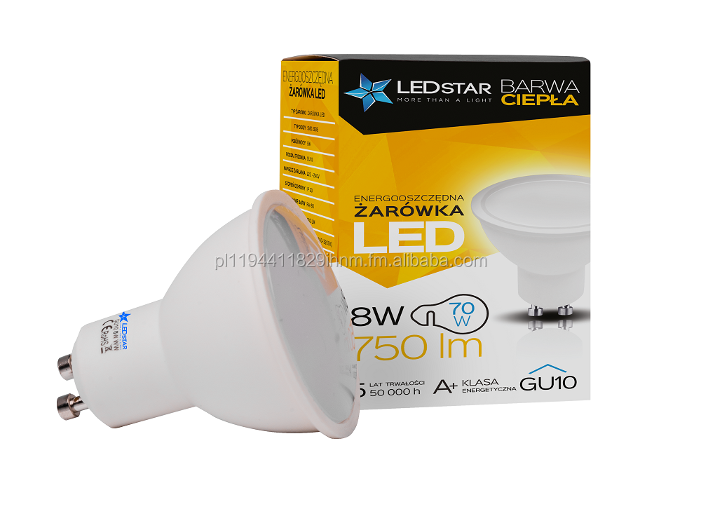 LEDstar Led light bulb GU10 8W 70W epistar diodes