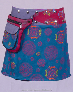 Polka Dot Exotic Print In Blue Ivy Gray Shade Cotton Fabric Gypsy Wrap Around Skirt With Bag Belt HHCS 139 C