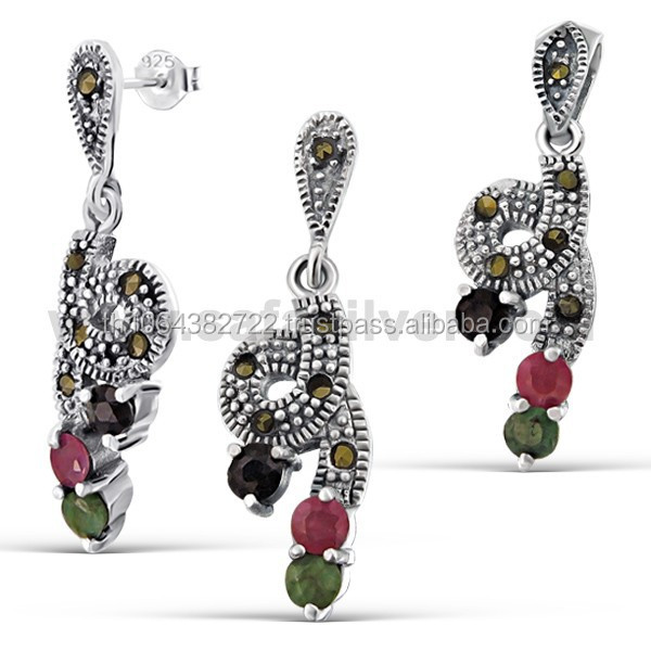 Mix Gemstones Red Corurdum, Onyx and Jade Gemstones Knot Shape Piercing .925 Sterling Silver Stud Dangle Marcasite Jewelry Set