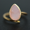 Zeva Hot New Agate Druzy Gold Plated Pear Shape Adjustable Fashion Ring, Best Jewelry Wholesale