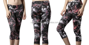 Ladies Active Wear Sublimation Legging Tight Pants Supplier, Printed Black Leggings