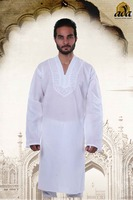 LUCKNOW CHIKAN EMBROIDERED COTTON MEN'S KURTA BY ADA