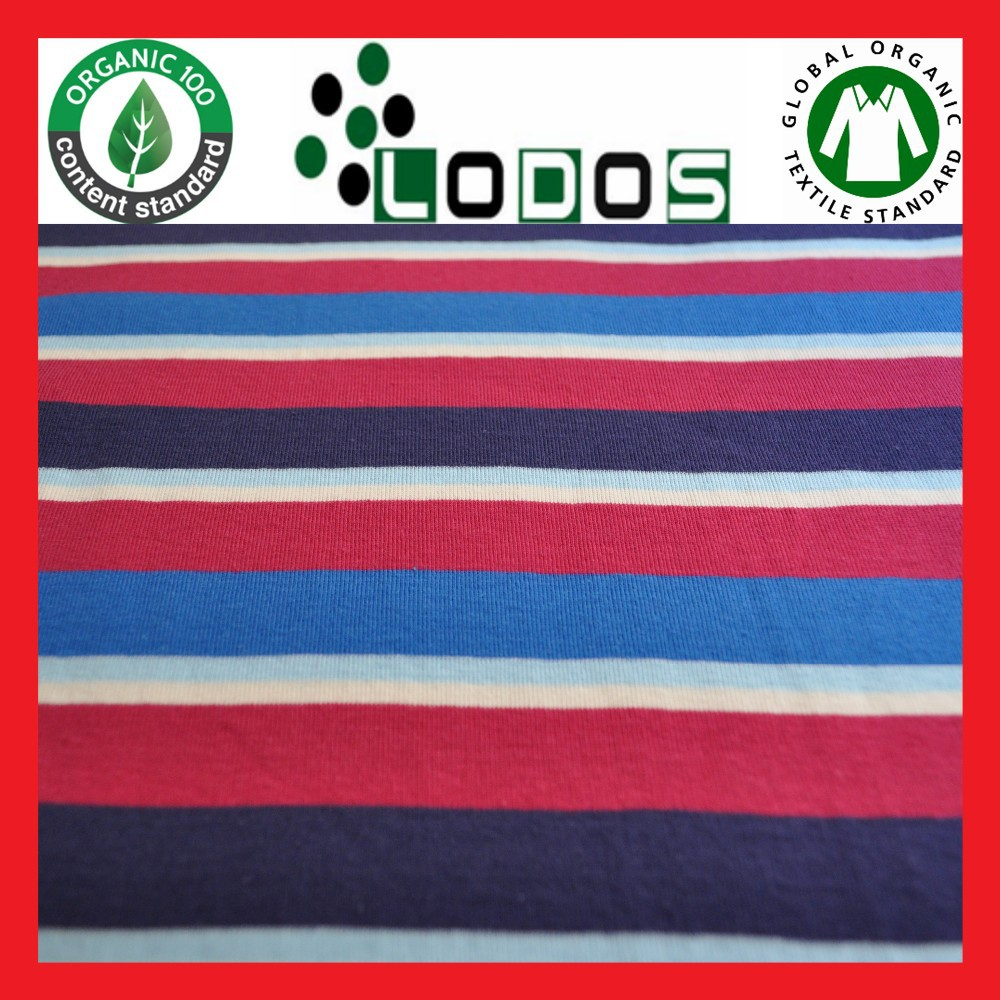 Yarndyed 100% Organic Cotton Rib Fabric ringel knitted fabrics for Baby Kids wear t-shirt dress natural knitwear knit