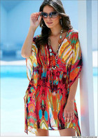 2015 New Style Sexy Mutlicolor Beach Kaftan for Ladies / Digital Animal Print