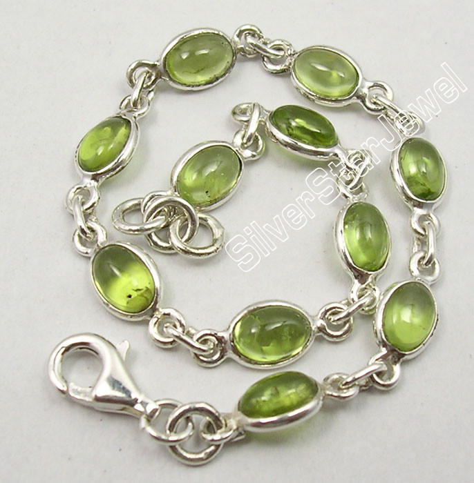 925 Sterling Silver Exclusive GREEN PERIDOT EXOTIC Bracelet 7 1/2