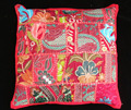 "Indian Red TOSS PILLOW CUSHION COVER EMBROIDERED Gift India COLORFUL Decor THROW Art 16"" vintage Home Decor"