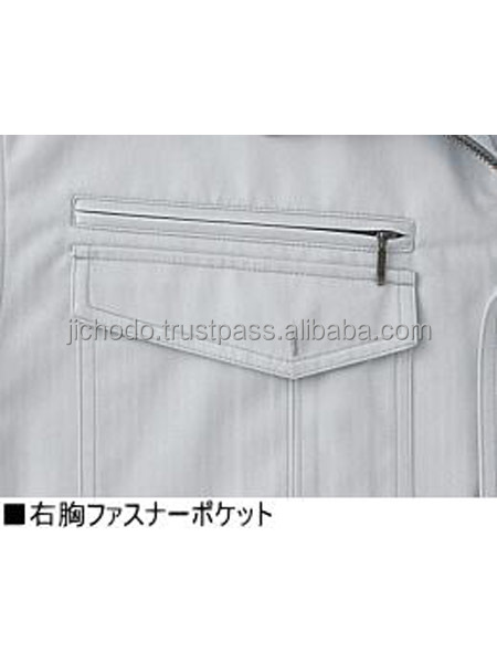 T/C shadow stripe. Branded work blousons with long sleeves. Made by Japan