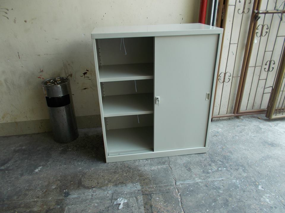 3 Layers Metal Sliding Door Filing Cabinet <KHOMI> Office Furniture and Partition