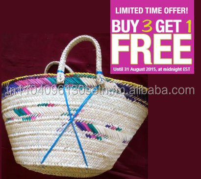 Autentic handwork Natural Straw Bag - Tunisian Product 60cm