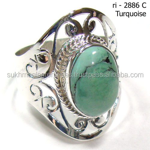 Tibet Turquoise rings 925 silver jewelry with blue stone Jaali cut rings Handmade jewelry Fashion rings