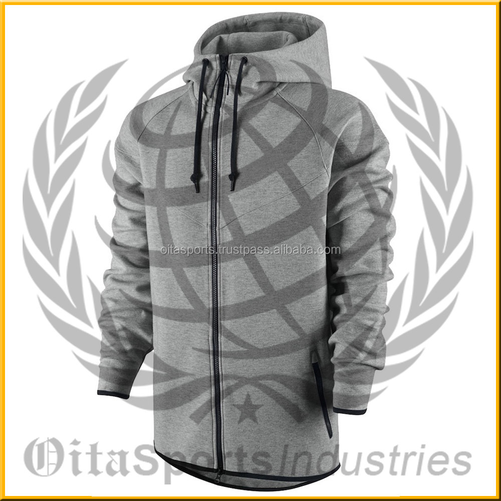 wind runner tech fleece men's hoodie heather grey & black