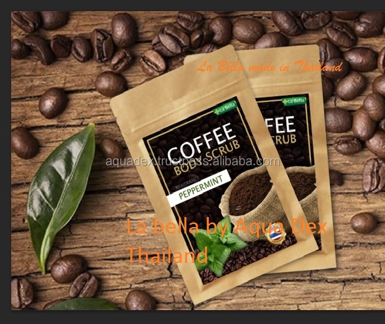 PEPPERMINT COFFEE BODY SCRUB La Bella ANTI-CELLULITE Coffee Scrub Packaging Bag Resealable Kraft Paper Pouch Foil Lined Doypack