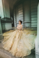 Wholesale Ball Gown Bridal Wedding Dress Spun Gold Off-Shoulder Dress