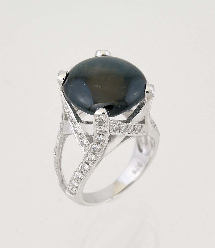 Gem Stone Jewelry Onyx Star 3.CT 925 Silver Sterling 9K White Gold Rings Size 5-13 Diamond &Gems