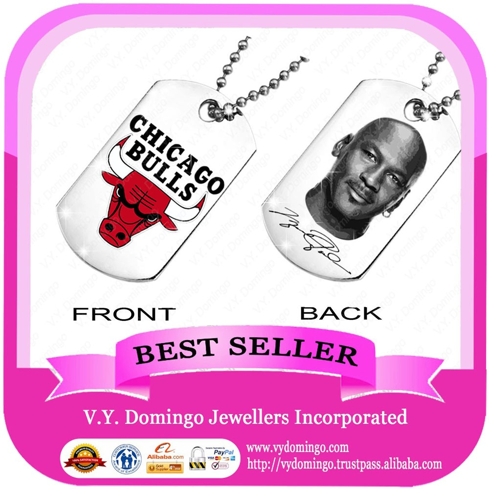 Chicago Bulls supper star fans pendant stainless steel name and picture dog tags