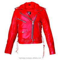Women Red Buffalo Leather Motorcycle Jackets