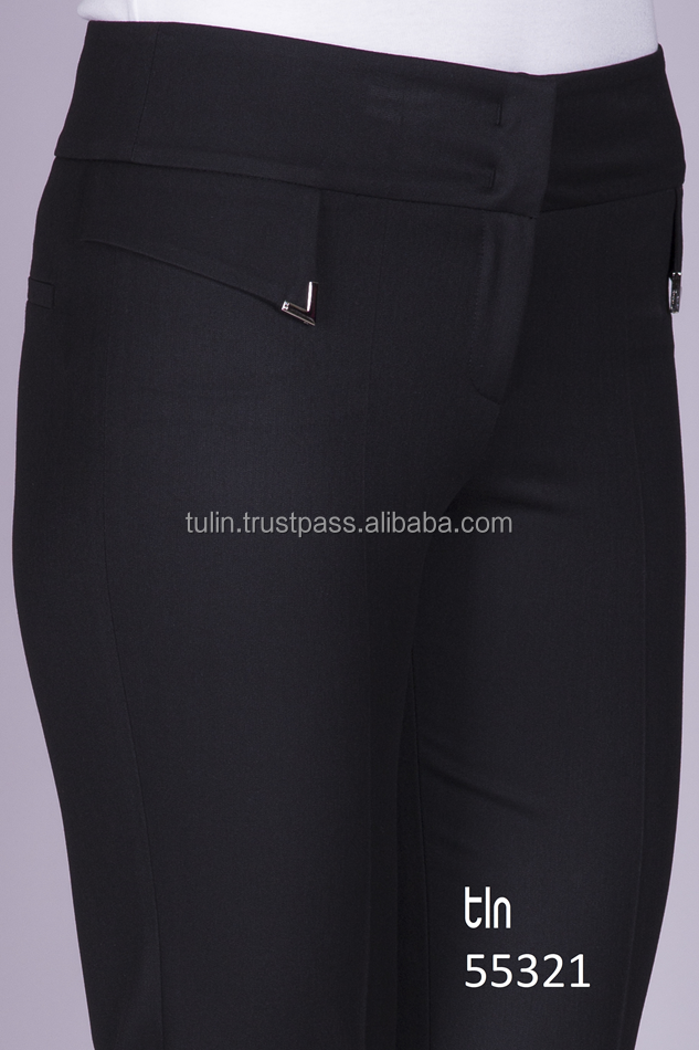 Wholesale Made in Turkey High Quality Fashion Trousers Pants for Women Metal Accessory